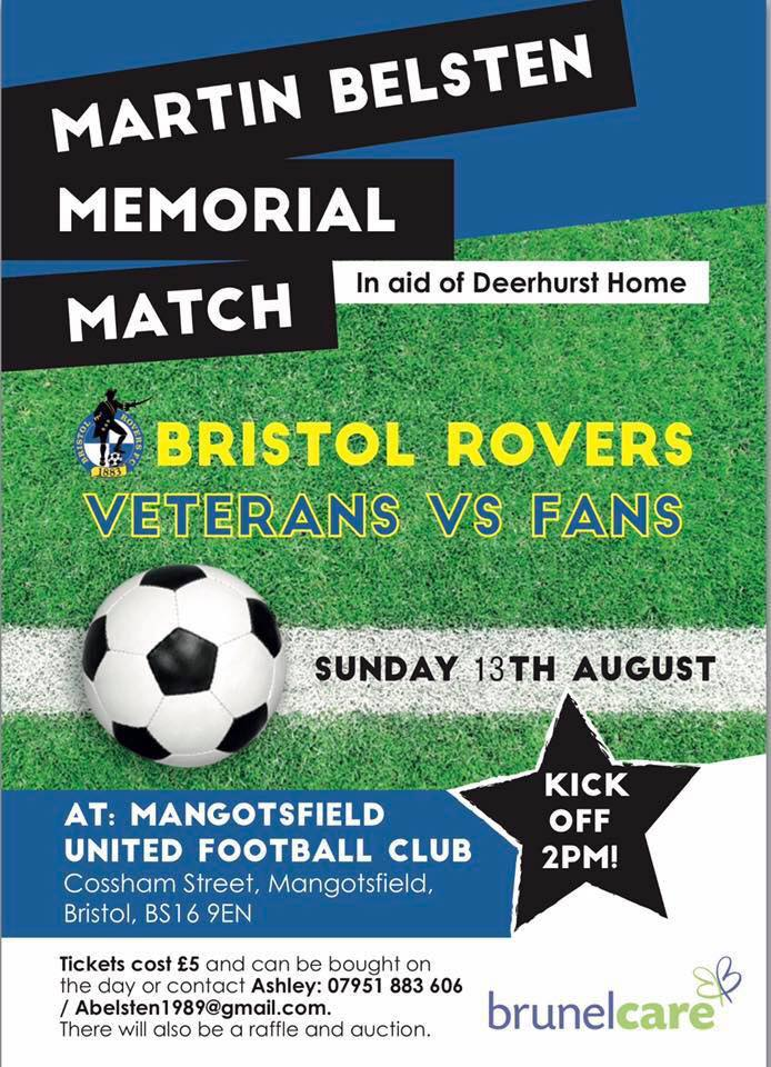 Martin Belsten Memorial Match - Bristol Rovers Veterans vs Fans - 13.8.2017