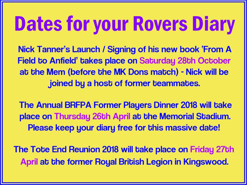 Forthcoming Rovers related Events 2