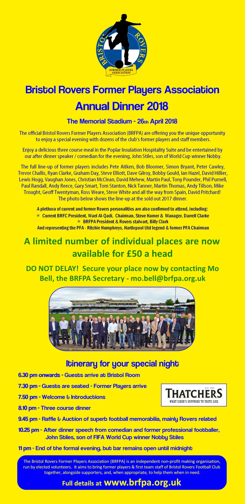 BRFPA Annual Dinner - 2018 - How to Book your place