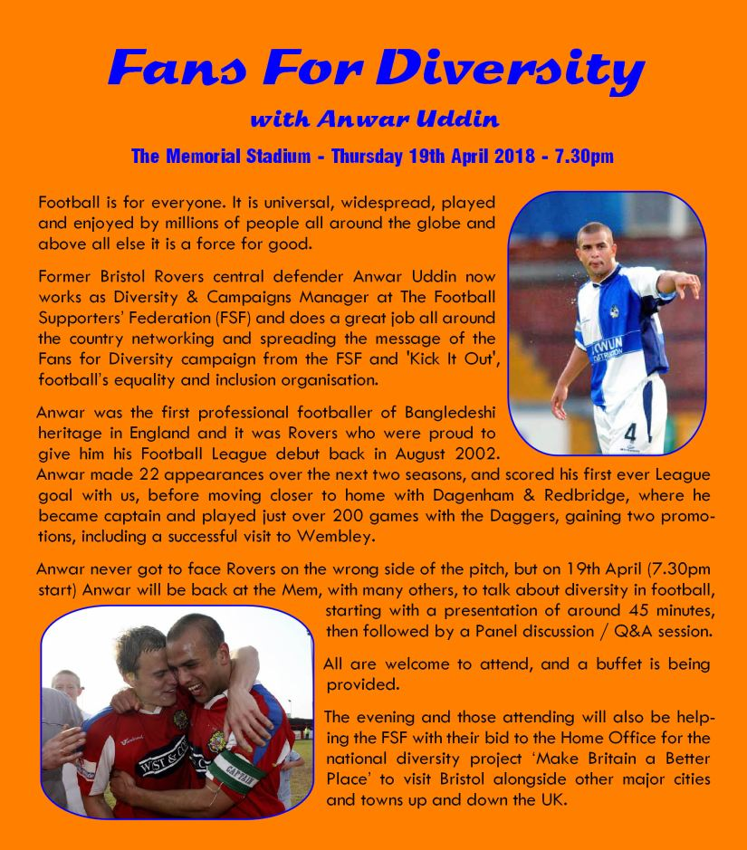 Fans For Diversity event, with Anwar Uddin - 19th April