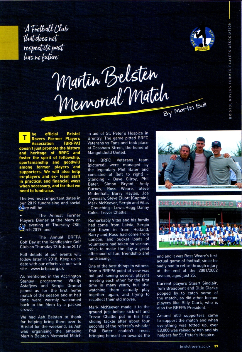 Match 2 - BRFPA - Article for BRFC programme vs Pompey on 21.8.18 - Scan of prog