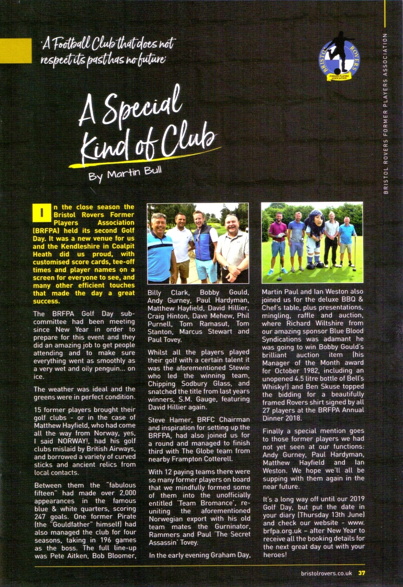Match 4 - BRFPA - Article for BRFC programme vs Plymouth Argyle - 8.9.18 - Scan of prog