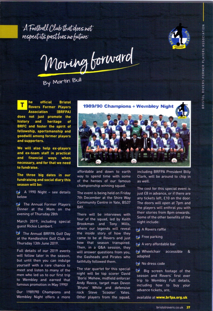 Match 6 - BRFPA - Article for BRFC programme vs Walsall - 6.10.18 - scan of prog