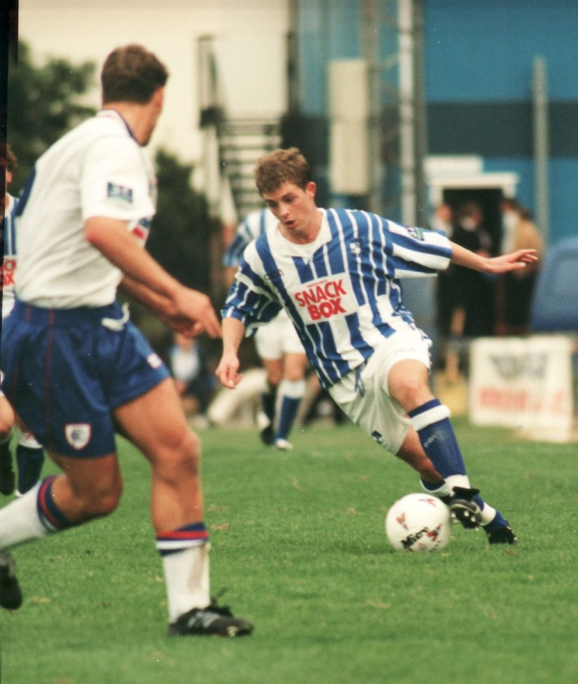 Jamie Cureton on his way to scoring his first Rovers goals, against Chesterfield, 22 years ago