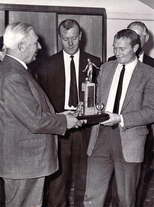 Joe receives his Player of the Year Award in 1965 with Alfie Biggs looking on - smaller