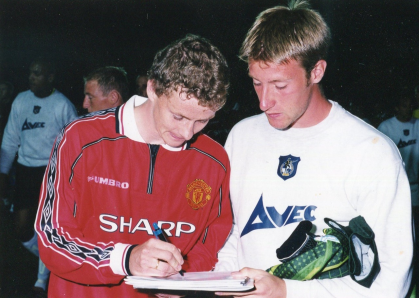 Ole Gunnar Solskjaer with Ray Johnston [Photo credit - Neil Brookman]