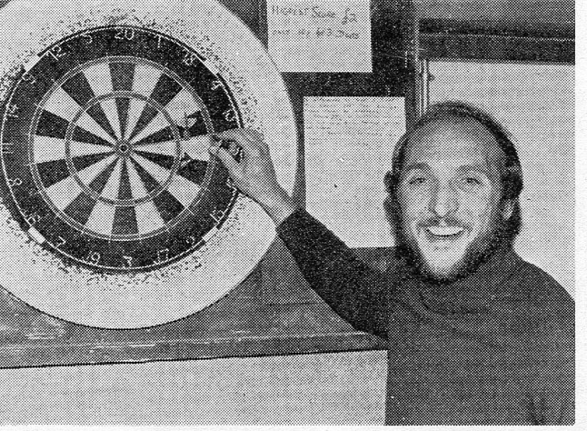 Scanned from programme photo taken by Alan Marshall on the occasion of his first testimonial event, a darts match at Snuff Mills