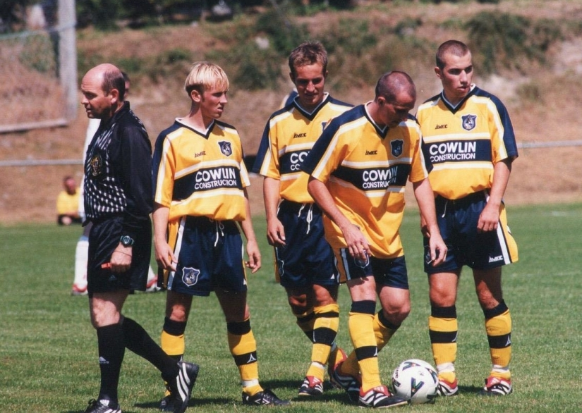 Darren Way, Gary Powell, Robbie Pethick and Lewis Hogg pictured, I think, against Galway United