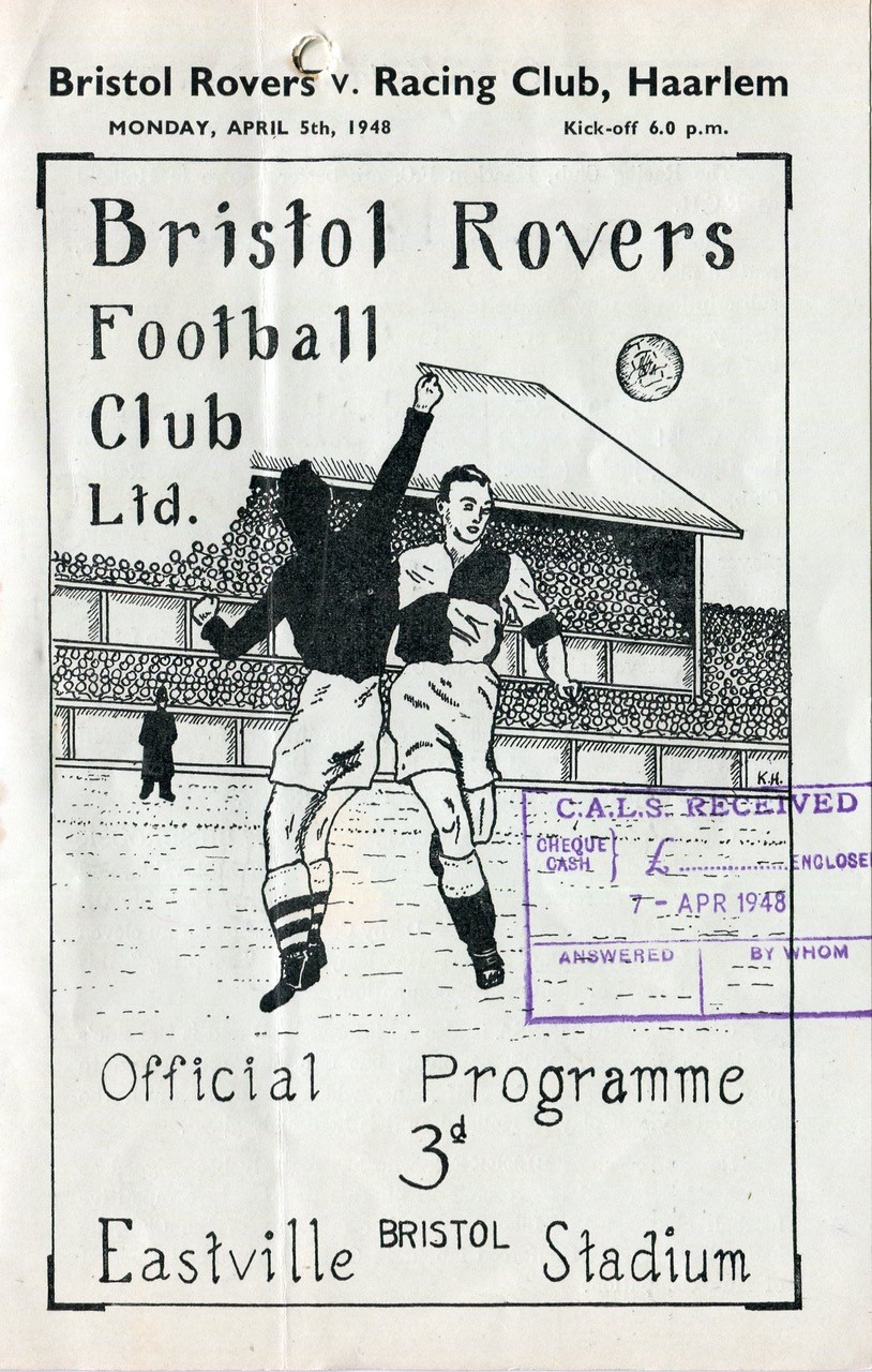 Programme cover from 1948 - Rovers v Racing Club Haarlem