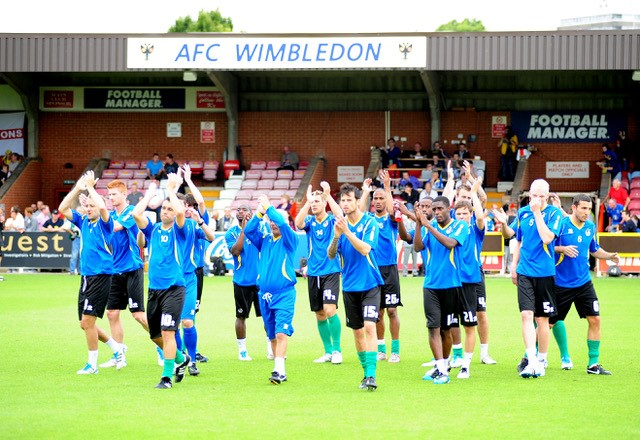 August 6th - Rovers players at AFC Wimbledon. Credit Neil Brookman