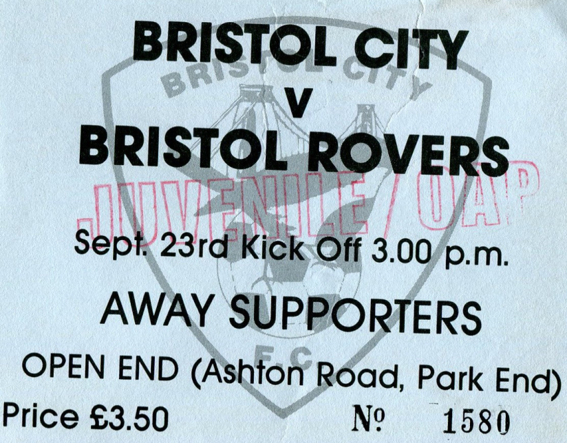 Ticket for the September Derby at Ashton gate