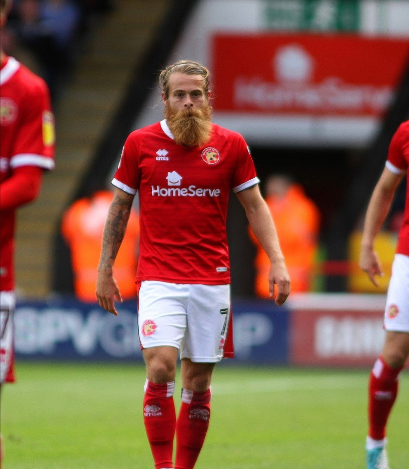 Stuart Sinclair - a member of the Walsall side moving up the league following three successive wins. Photo courtesy of Tom Heslop, Walsall FC