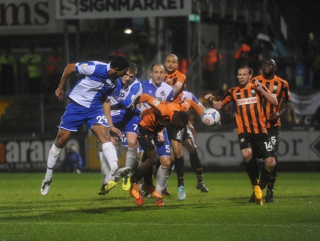 Angelo Balanta's late winning goal against Barnet [Photo courtesy of Neil Brookman]
