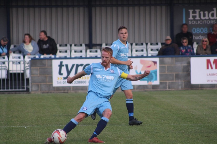 Craig Disley in action for Barton Town. Photo courtesy of Aaron Irwin, Barton Town FC