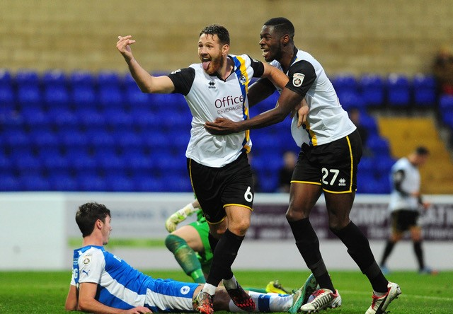 Goalscorers against Chester, Tom Parkes and Nathan Blissett, celebrate [Photo courtesy of Neil Brookman]