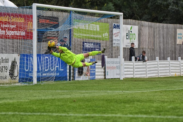 I simply had to include this outstanding photo of Swindon Supermarine goalkeeper Martin Horsell, pictured in action against Chesham United. Courtesy of Steve Brennan of motionsportphotography