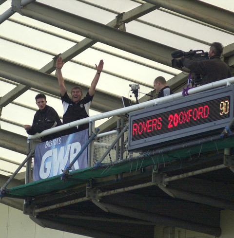 Ian Atkins on the gantry for the Oxford game - Photo Credit Jeff Davis