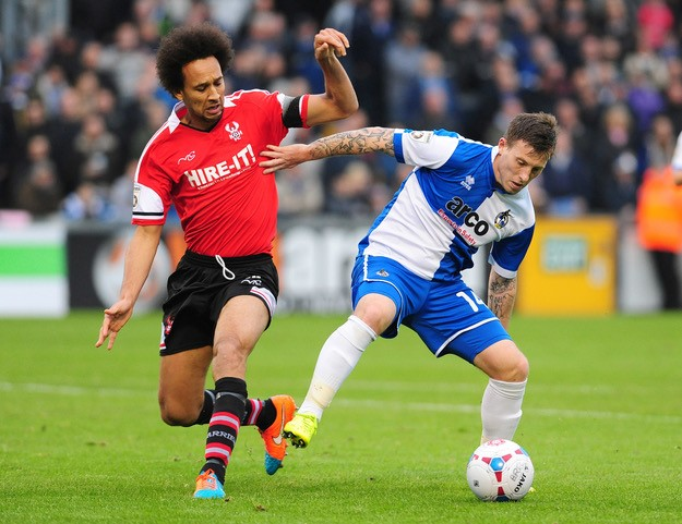 Jamie White pictured in his last game for Rovers, against Kidderminster Harriers [Photo courtesy of Neil Brookman]