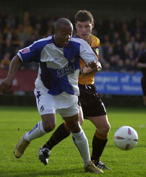 Junior Agogo in the thick of the action against Boston United - Photo Credit Jeff Davis