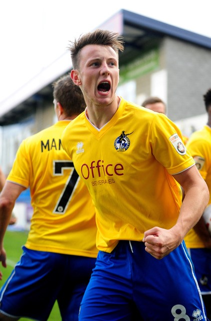 Ollie Clarke celebrating his goal at AFC Telford [Photo courtesy of Neil Brookman]
