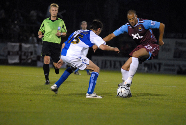 Bobby Zamora playing for West Ham at the Memorial Stadium for West Ham in August 2007 - Photo Credit Neil Brookman