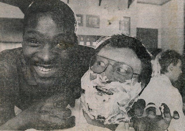 Devon White gives Bill Turnbull a close shave at the Spotted Cow!
