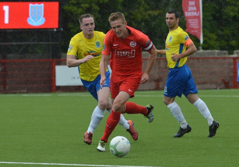 Jeff Hughes, who scored from the penalty spot for Larne last Saturday. Photo courtesy of Chris at Larne FC