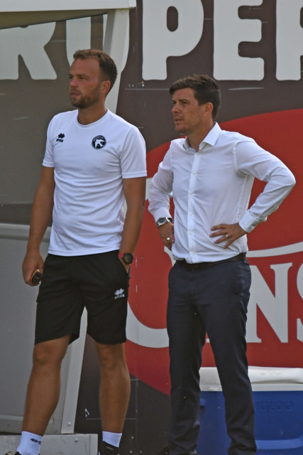 Walsall manager Darrell Clarke successfully saw his side overcome a tricky FA Cup second round replay at Darlington. Pictured with coach Brian Dutton, photo courtesy of Tom Heslop, Walsall FC