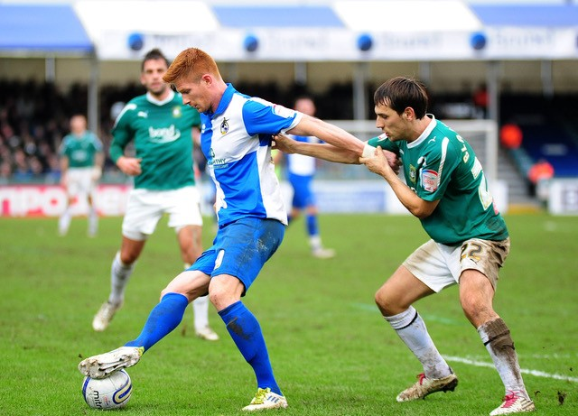 Boxing Day 2012, Matt Harold in action against Plymouth Argyle. Photo courtesy of Neil Brookman