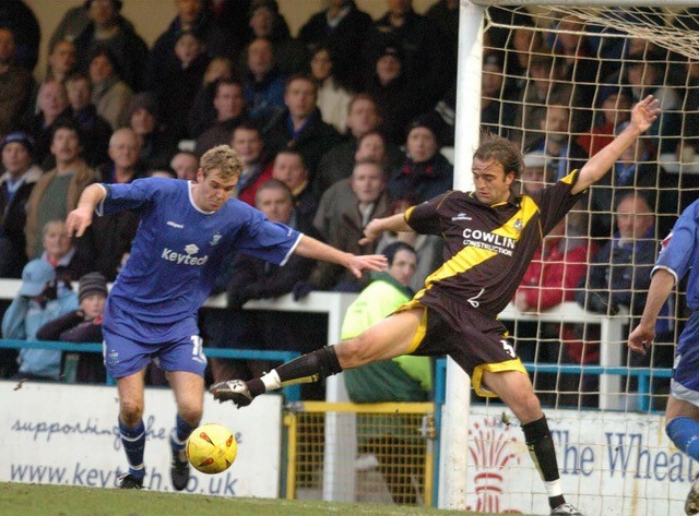 Christian Edwards in action against Rochdale. Pretty sure the Rochdale player is former Rovers striker Paul Tait. Photo Credit Jeff Davies