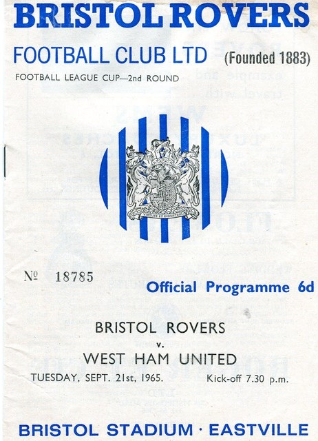 Cover of programme for League Cup tie at Eastville...