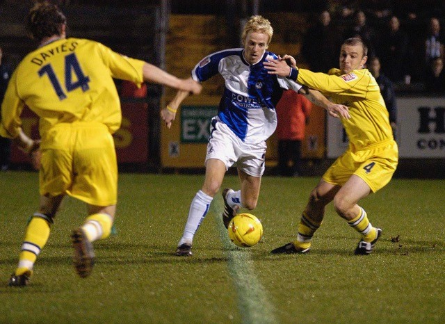 Craig Disney in action against Chester, the game in which he scored his first Gas goal. Photo Credit - Neil Brookman