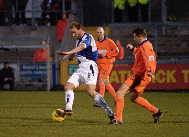 James Hunt in action against Macclesfield Town, December 2004. Photo Credit Neil Brookman