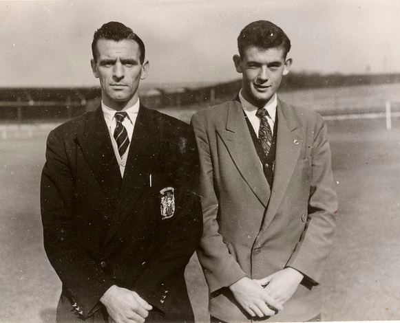 Norman Sykes (left) pictured with Geoff Bradford, made his debut on Boxing Day 1956. No Photo Credit