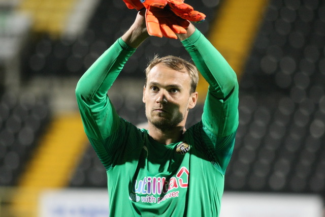 Sam Slocombe's Boxing Day clean sheet saw Notts County into a National League play off place. Photo courtesy of media@notts countyfc.co.uk