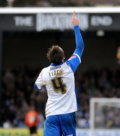 Chris Lines dedicates his goal against Colchester United to his gran. Photo courtesy of Neil Brookman