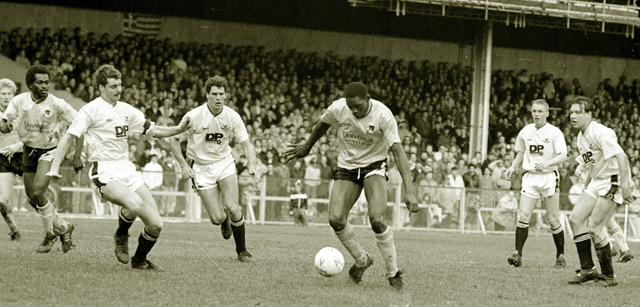Devon White in action against Swansea City - Photo courtesy of Alan Marshall