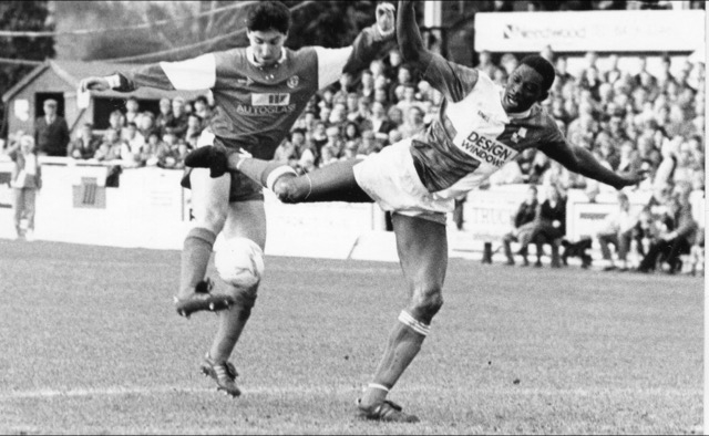 Devon White in action against Walsall - Photo courtesy of Alan Marshall