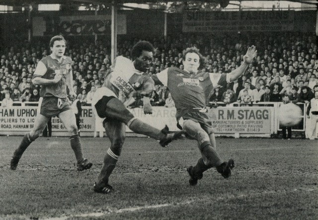 …and scoring one of his two goals. Both photos courtesy of Alan Marshall