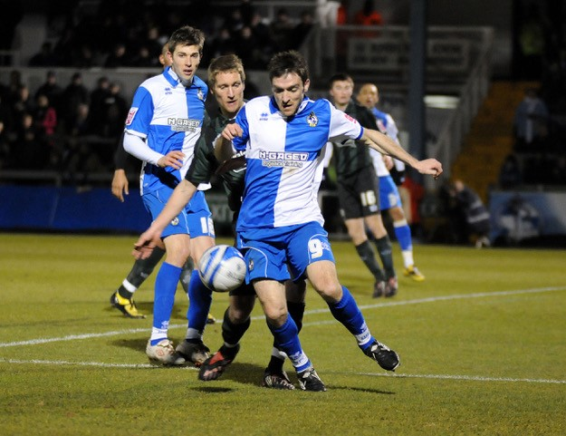 Paul Heffernan in action on his debut in the home game against Walsall. Photo courtesy of Neil Brookman