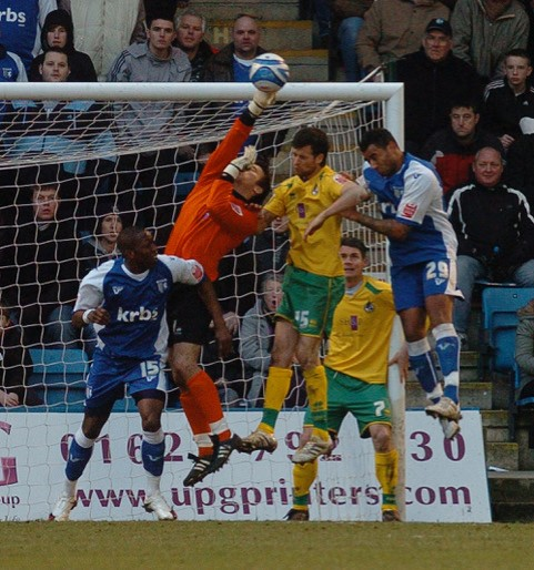 Rhys Evans in action at Gillingham. Photo courtesy of Jeff Davies