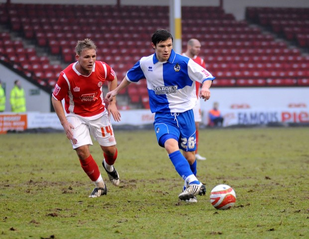 Wayne brown in action in the away game against Walsall. Photo courtesy of Neil Brookman