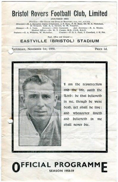 Front cover of programme for the game against Bristol City, played the day after Harry's death...