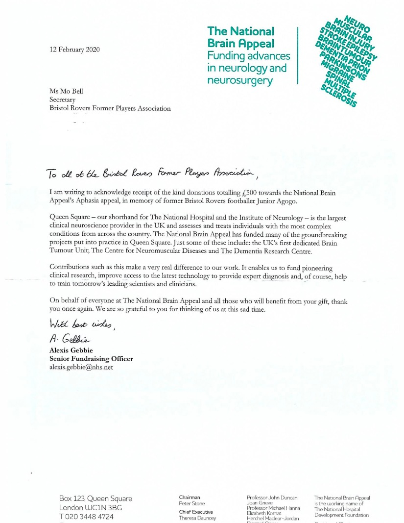 Scan of letter from national Brain Appeal - re Junior Agogo - Feb 2020