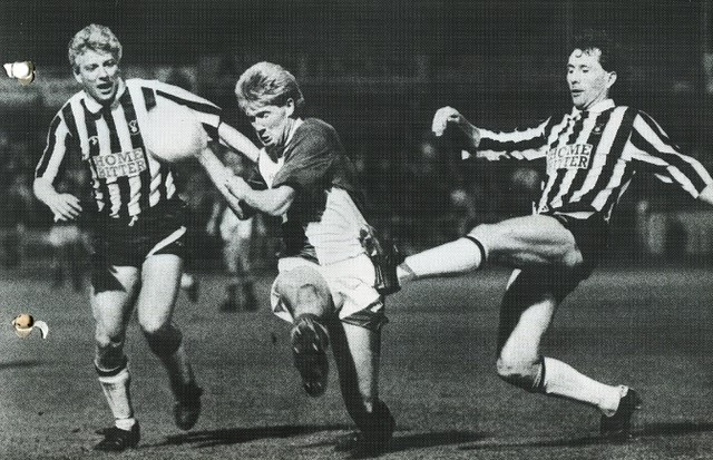 David Mehew in action against Notts County. His goal left Rovers one match away from a first ever game at Wembley. The Notts County player on the left is former Rovers midfielder Nicky Platnauer