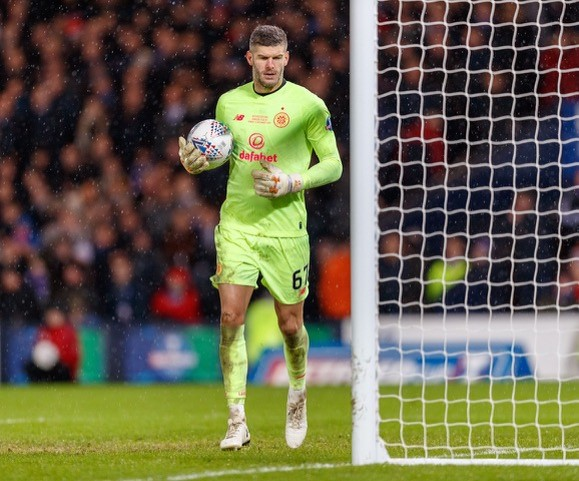 Fraser Forster, now playing for Celtic who were knocked put of the Europa Cup last week, though they still continue to dominate the Scottish domestic scene. NO CREDIT FOR THIS ONE