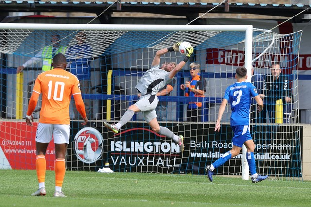 Goalkeeper Will Puddy has helped pull Chippenham Town away from the relegation zone in national League South. Photo courtesy of Richard Chappell Rchapp@btinternet.com