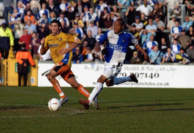 Junior Agogo also pictured in the 4-4 draw against Mansfield. Photo credit Neil Brookman