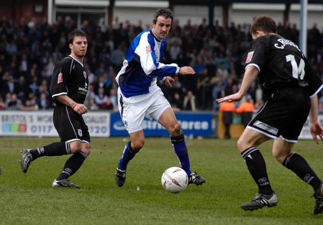 Midfielder Dave Savage pictured in action during the game against Darlington. Photo credit Neil Brookman