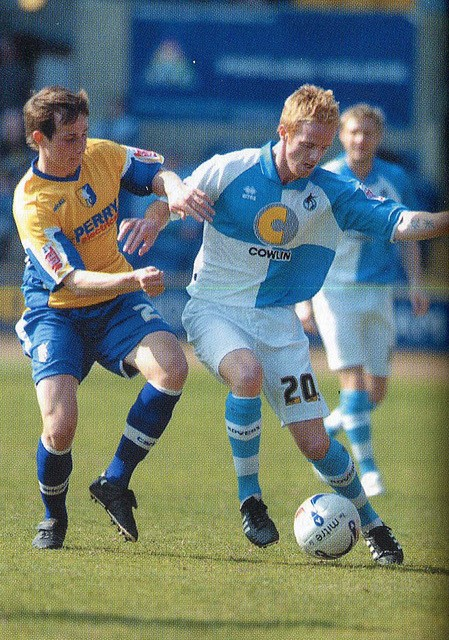 Craig Disley pictured in action against Mansfield, his former club. Photo Credit Jeff Davis